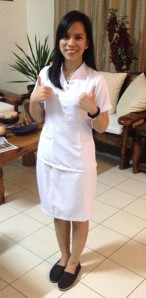 Kat, wearing her clerkship uniform for the first time. =)